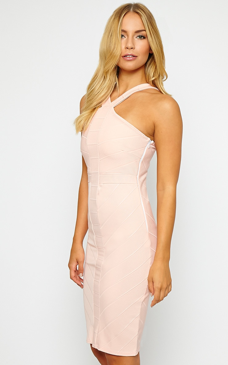 Becka Nude Cross Front Bandage Dress 4