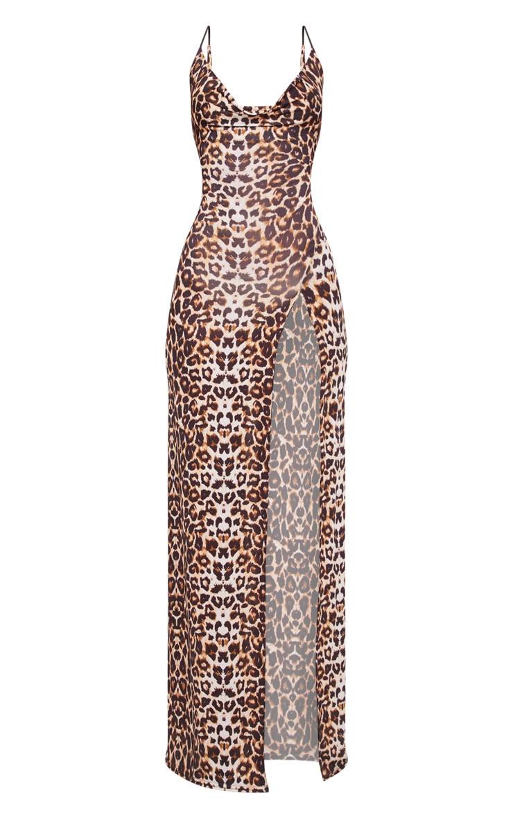 Tan Leopard Print Slinky Cowl Neck Split Detail Maxi Dress 3