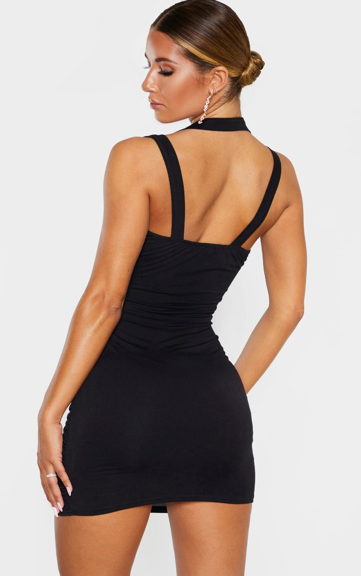 Black Multi Strap Sleeveless Ruched Bodycon Dress 2