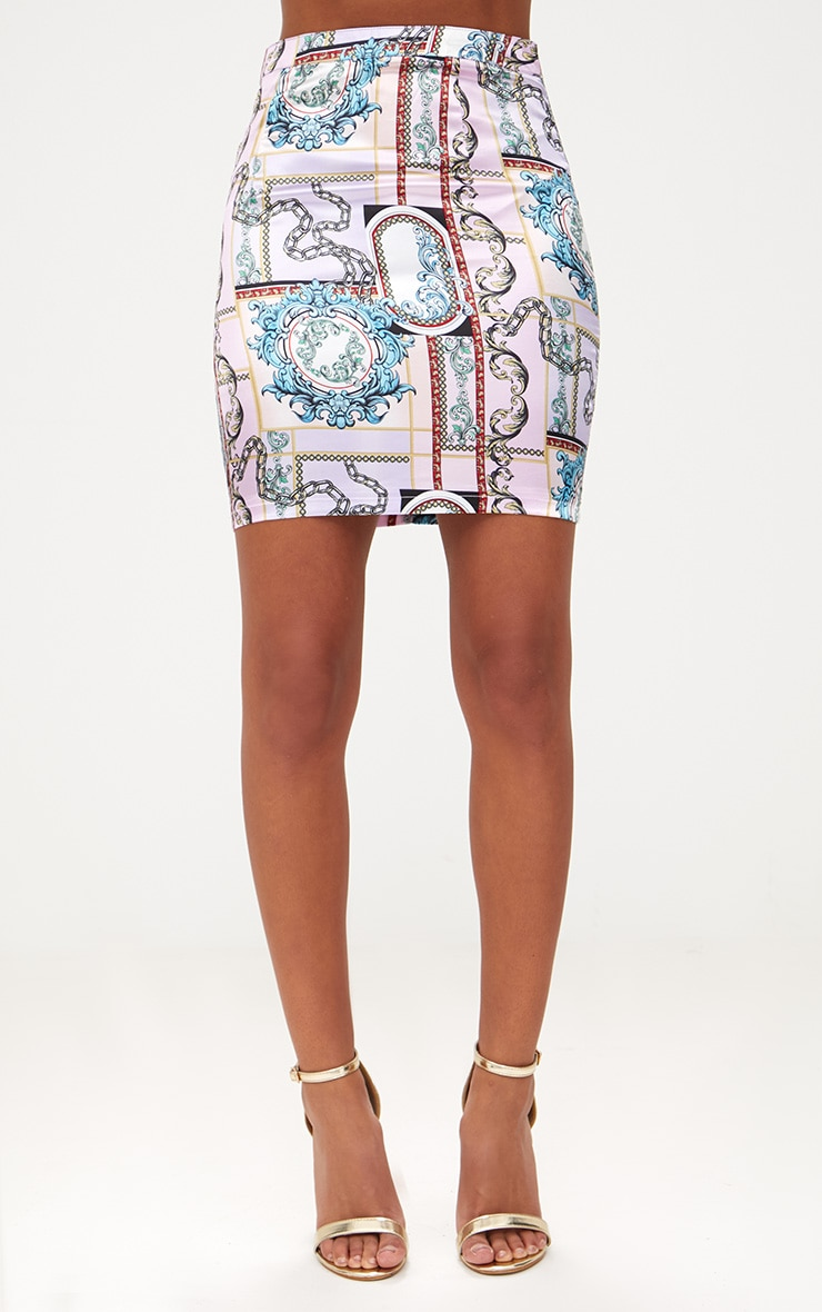 Lilac Scarf Print Mini Skirt 2