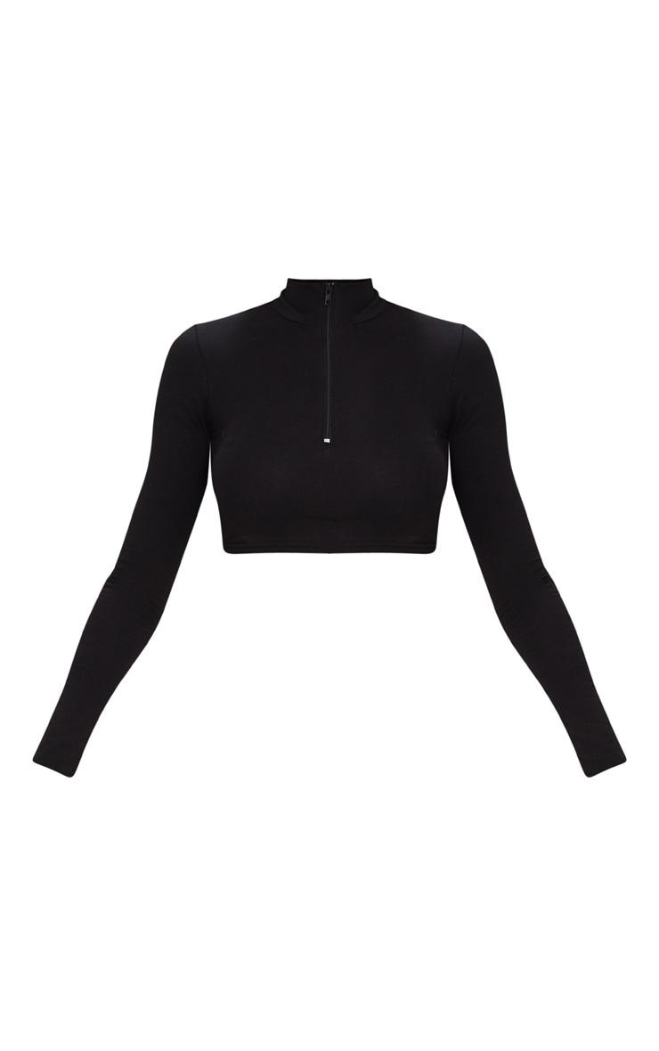 Black Zip Front High Neck Long Sleeve Crop Top   3