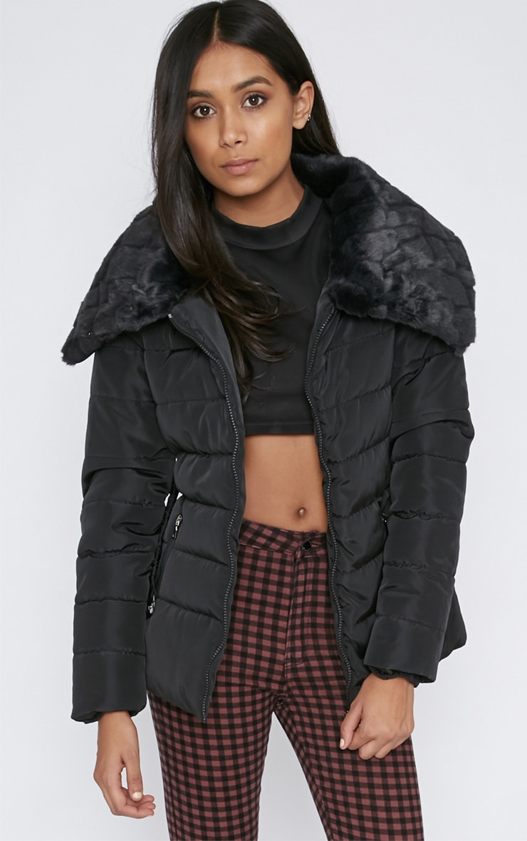 Mara Black Quilted Coat 4