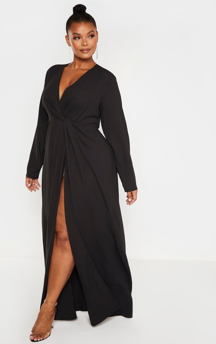 Plus Black Twist Front Maxi Dress 4