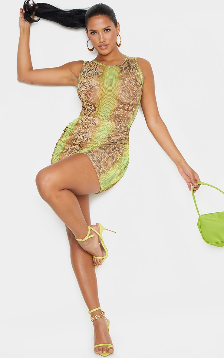 Shape Lime Snake Print Sheer Mesh Bodysuit 3
