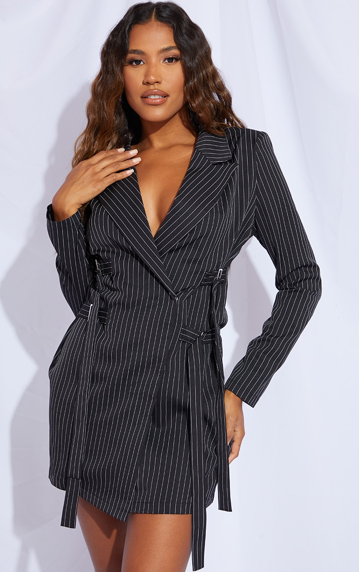 Black Pinstripe Buckle Detail Blazer Dress 1