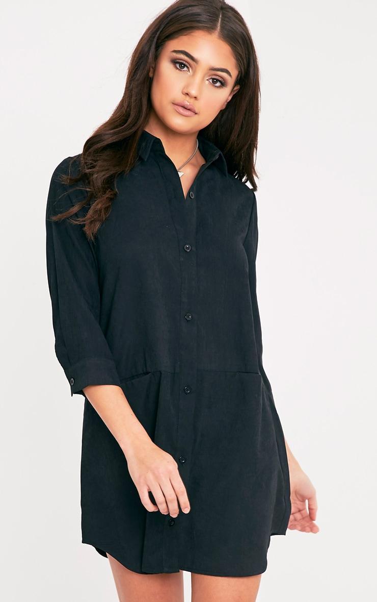 Marnie robe chemise noire à poches 1
