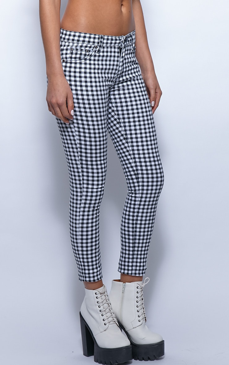 Kimmy Monochrome Checked Ankle Grazer Skinny Jeans 4