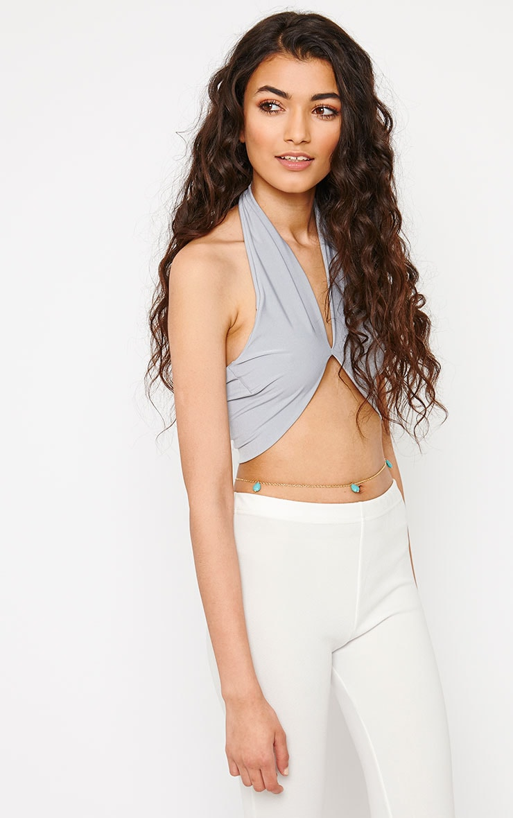 Eloise Grey Halterneck Crop Top 4