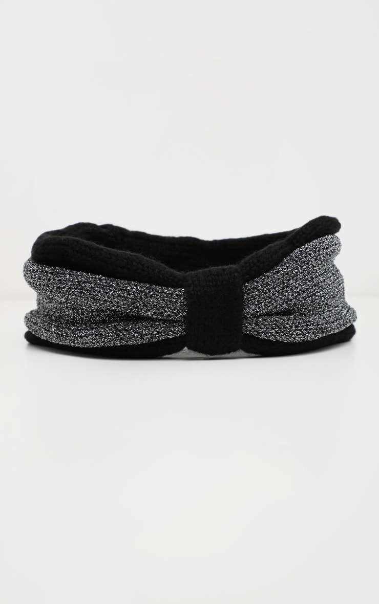 Black And Grey Knotted Head Band 2