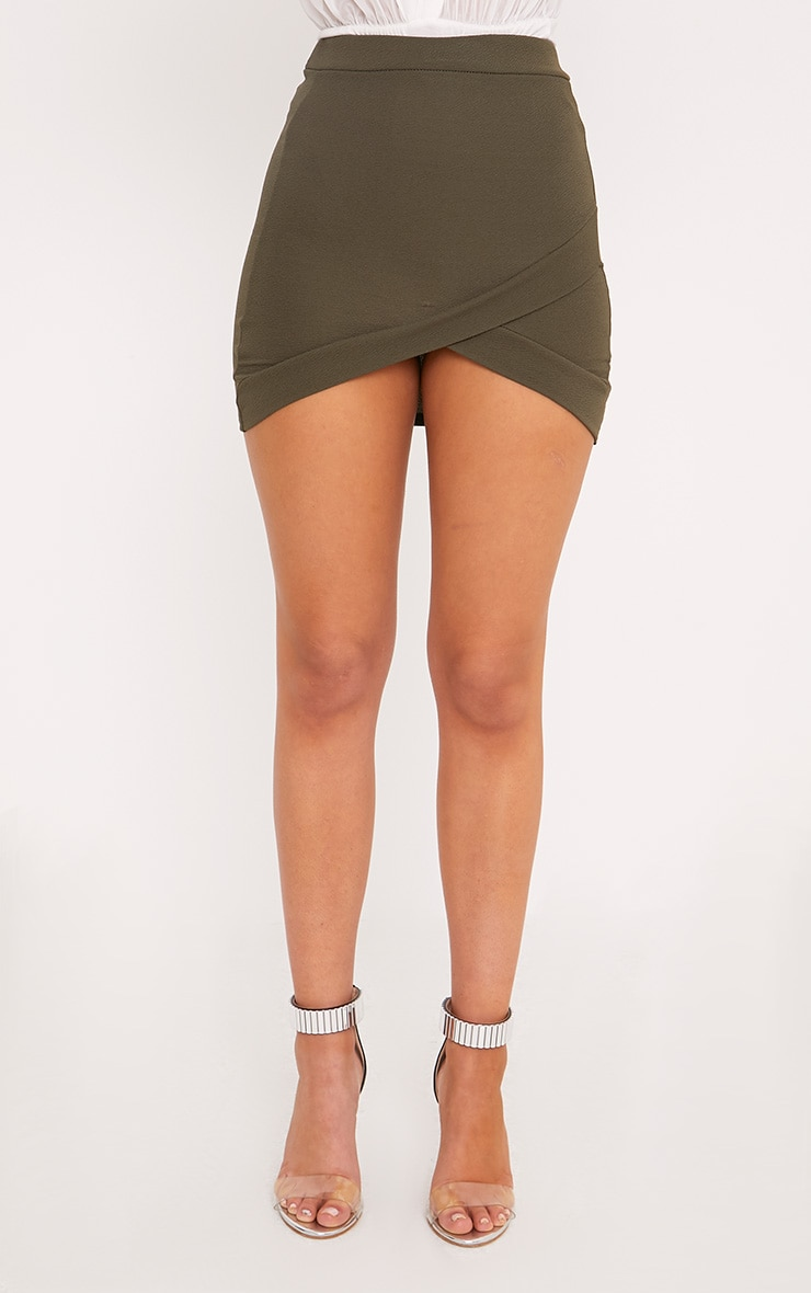 Gabriella Khaki Asymmetric Mini Skirt 2