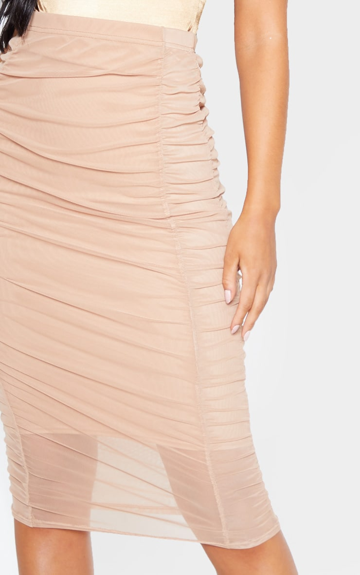Camel Second Skin Ruched Mesh Midi Skirt 4
