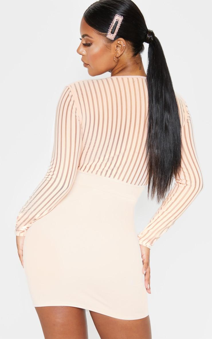 Nude Mesh Stripe Detail V Plunge Bodycon Dress 2