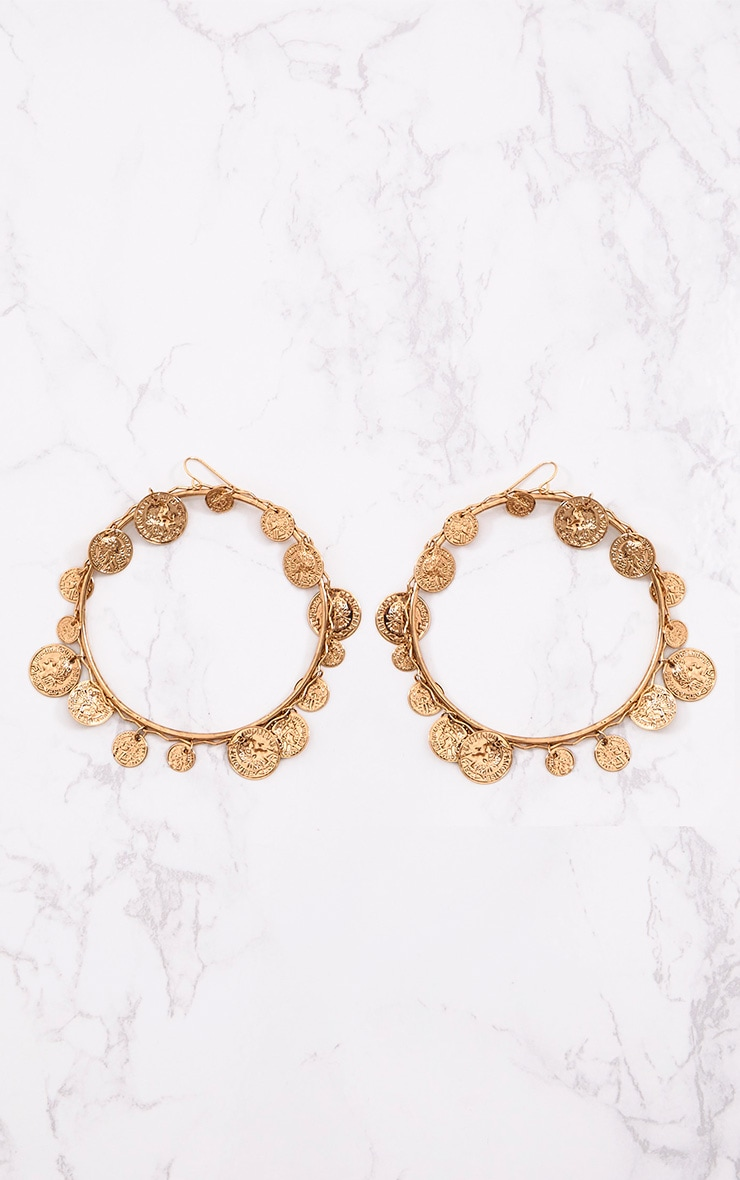 Gold Large Coin Hoop Earrings 4