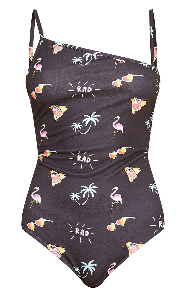 Black Flamingo Print Asymmetric Thong Bodysuit 3