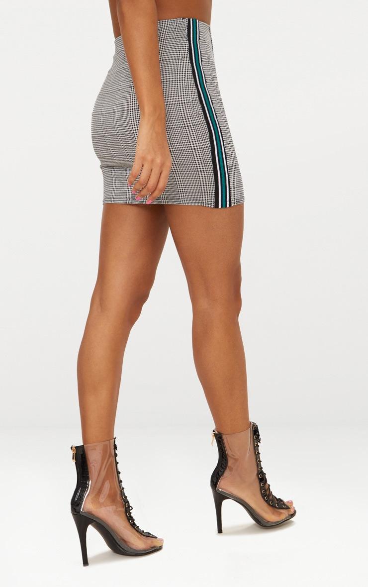 Black Check Wrap Panel Side Stripe Skirt 4