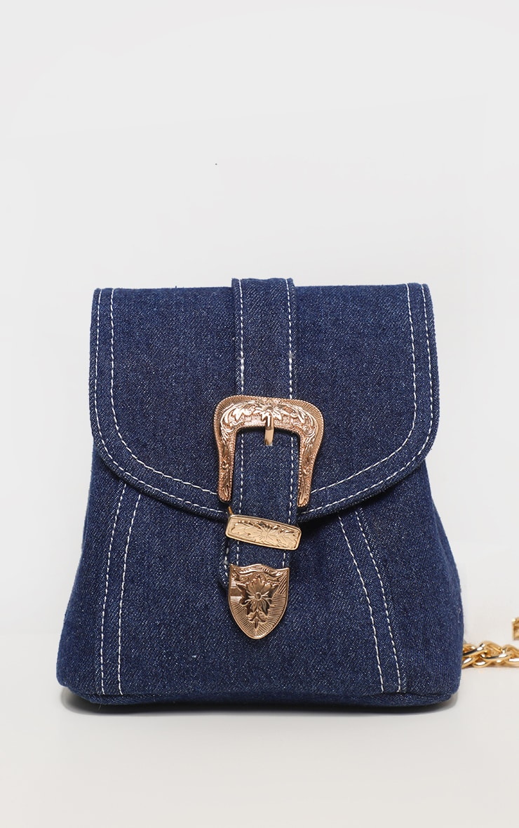Denim Western Buckle Mini Backpack 2