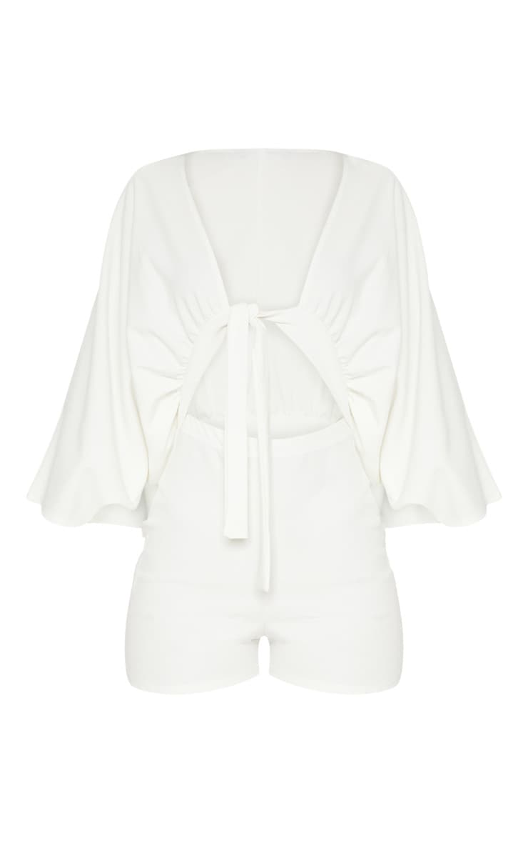 Ivory Crepe Batwing Cut Out Playsuit 3