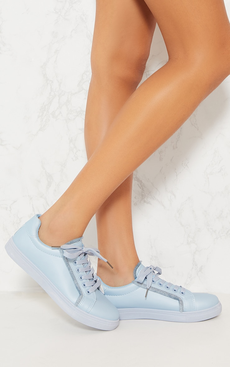 Dusty Blue Frayed Edge Lace Up Trainer 2