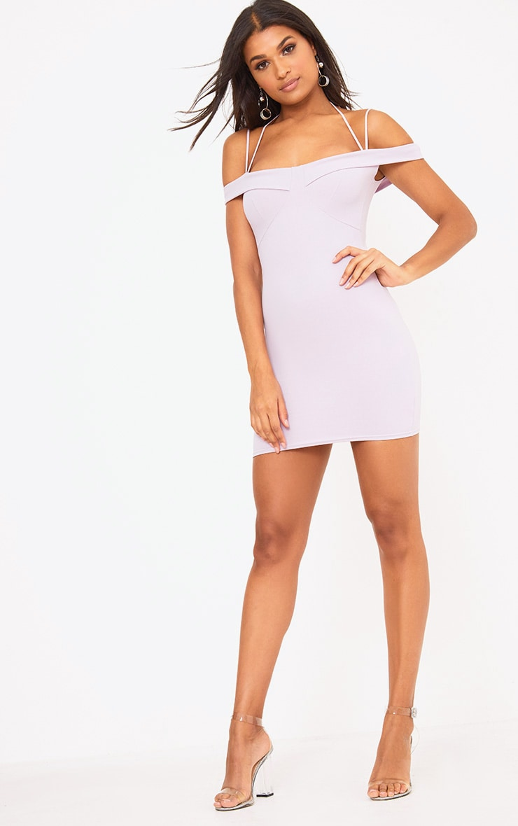 Lilac Strap Detail Bodycon Dress 4