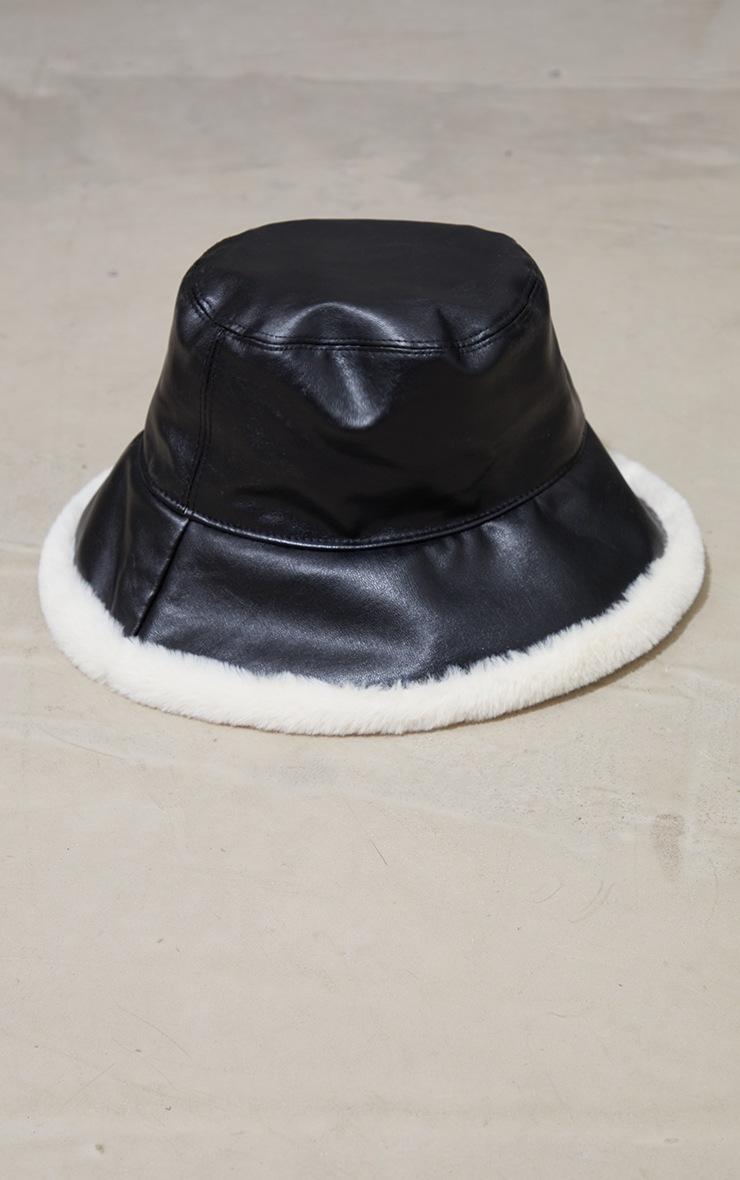 Black PU Faux Fur Trim Bucket Hat 2
