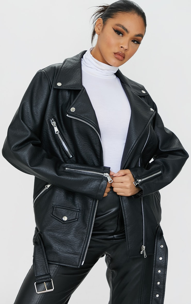 Black Oversized Faux Leather Zip Detail Biker Jacket 1