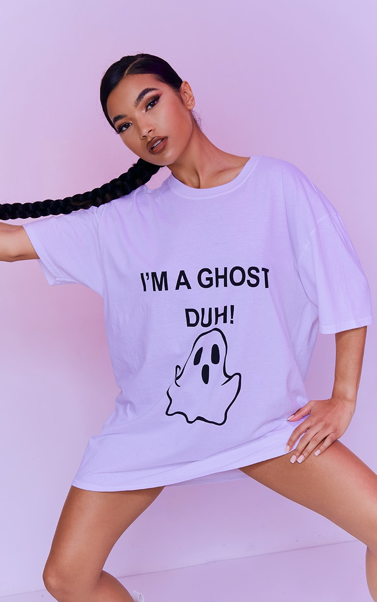 White I'm A Ghost Slogan Oversized T Shirt Dress 1