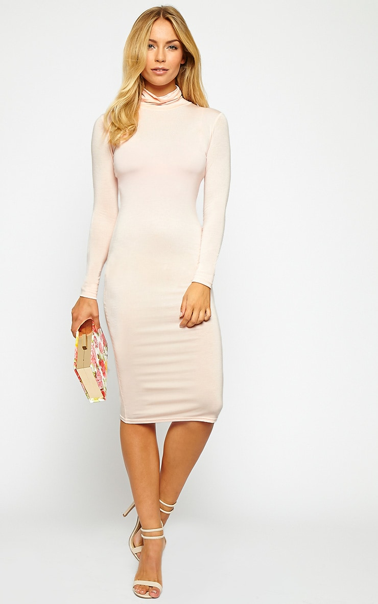 Basic Nude Jersey Roll Neck Midi Dress 4