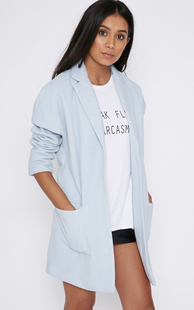 Hope Ice Blue Boyfriend Coat  1