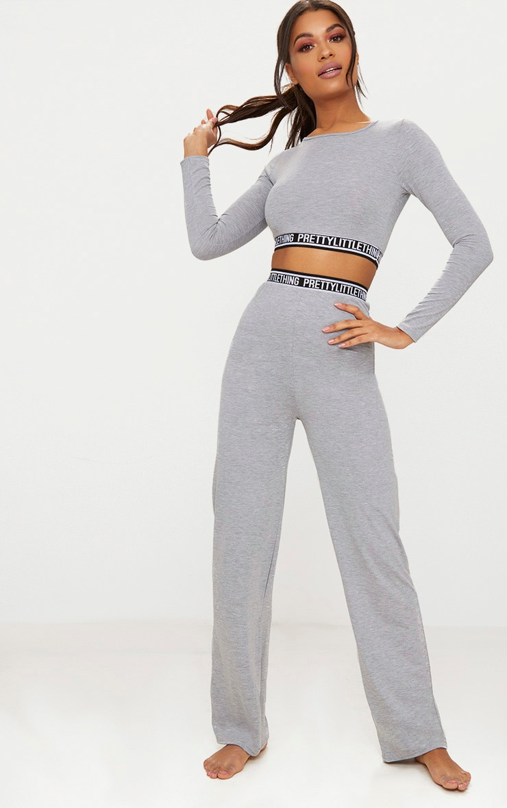 PRETTYLITTLETHING Grey Marl Long Sleeve Crop PJ Top 4