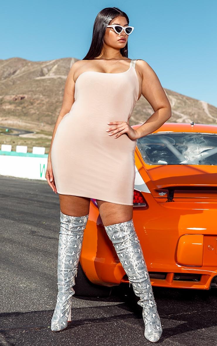 PRETTYLITTLETHING Plus Nude One Shoulder Slinky Bodycon Dress 3