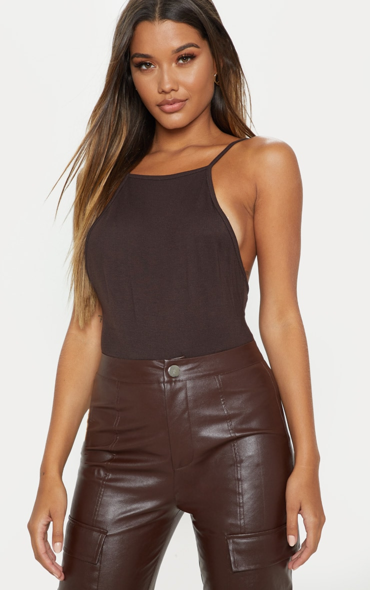 Chocolate Jersey Low Back Vest 1