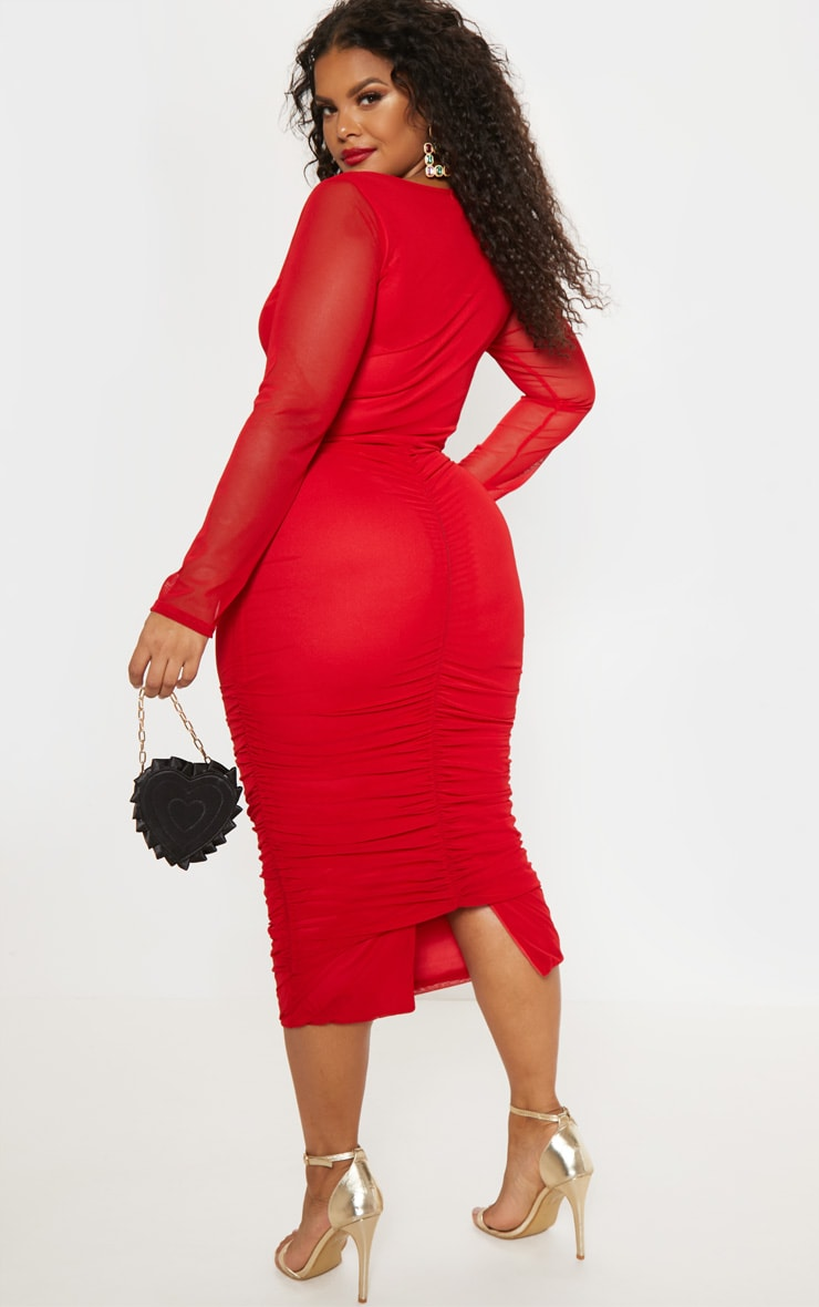 Plus Red Mesh Ruched Midi Dress 3