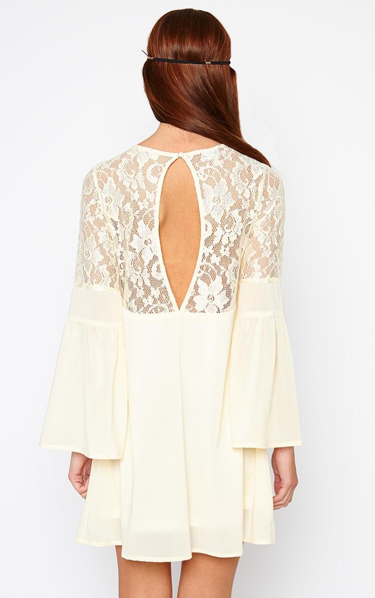 Bettie Cream Bell Sleeve Lace Detail Dress 2