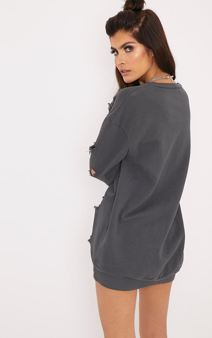 Kynarr Charcoal Distressed Jumper Dress 2