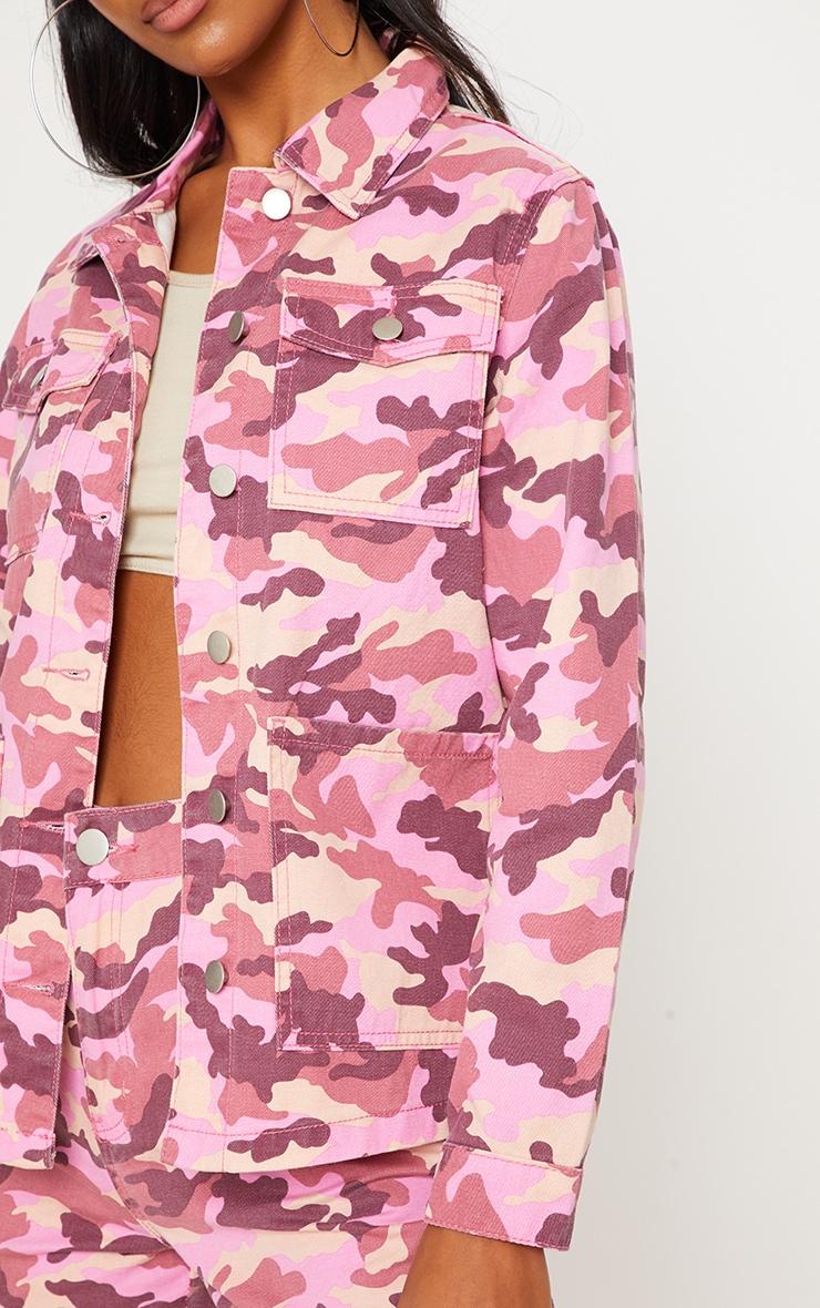 Pink Camo Trucker Denim Jacket  4