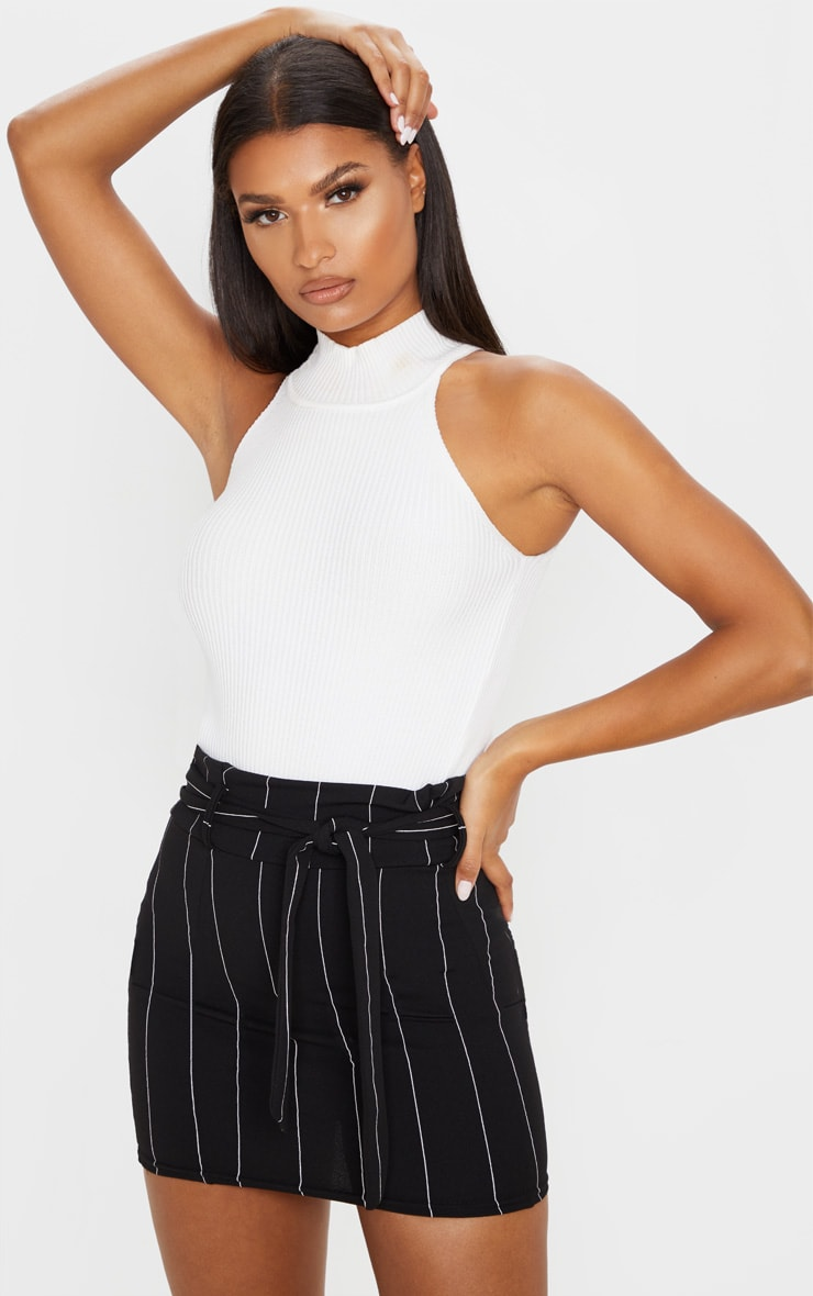 Black Pinstripe Tie Waist Mini Skirt 5