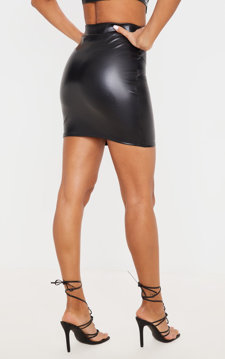 Black Basic Faux Leather Mini Skirt 3