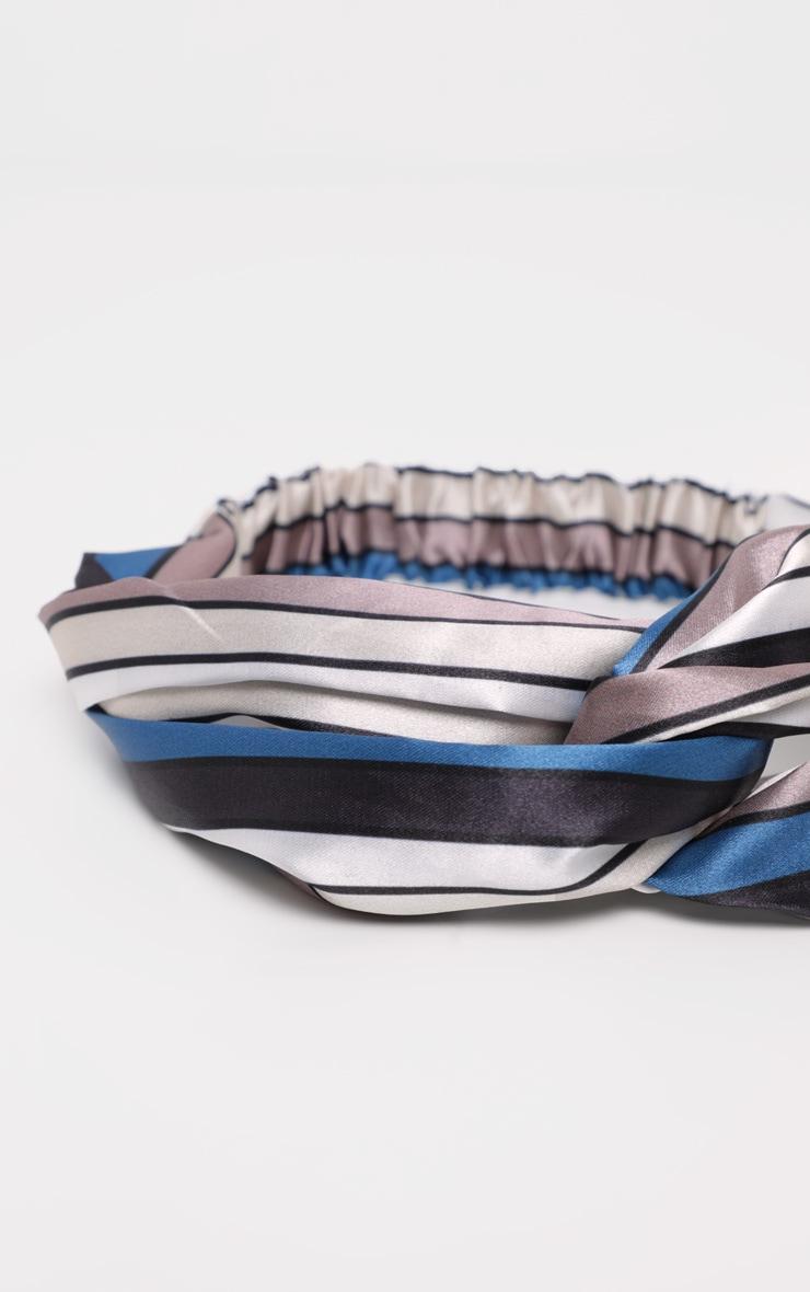 Multi Striped Pattern Satin Twisted Headband 3