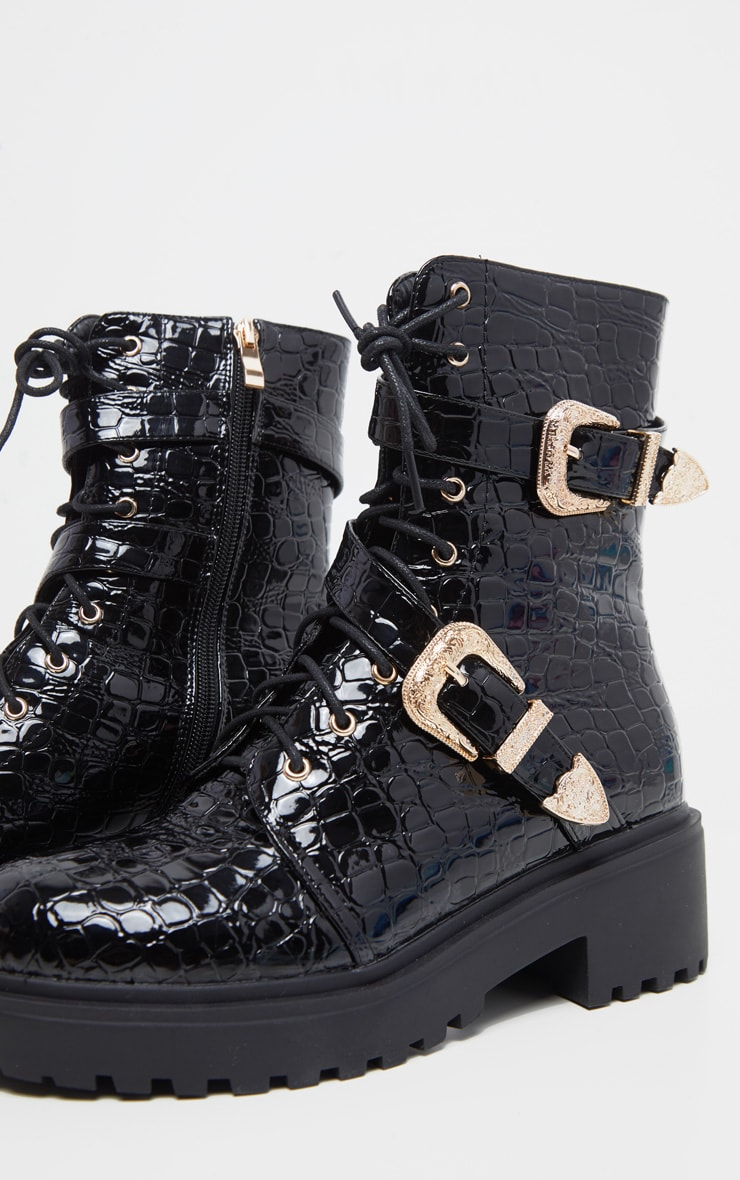 Black Patent Croc Western Buckle Cleated Boot 3