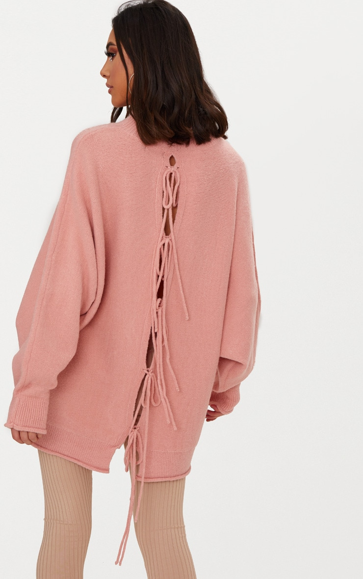 Pink Lace Up Back Oversized Knitted Jumper 1