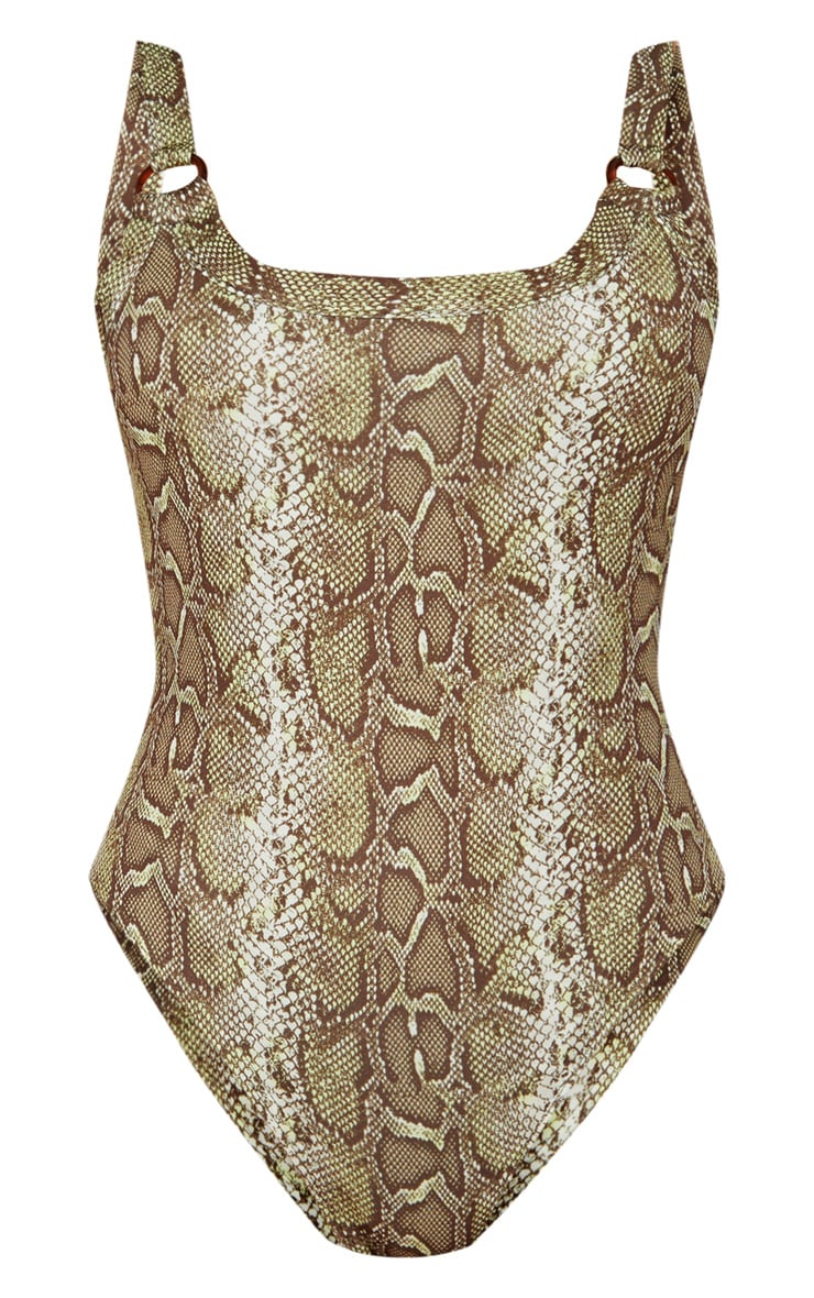 Brown Snake Print Ring Detail Bodysuit 3