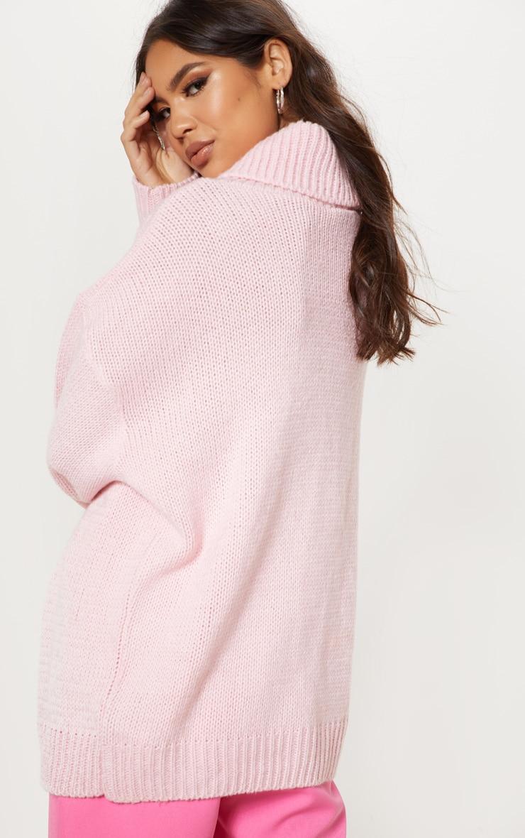 Pink High Neck Fluffy Knit Sweater 2