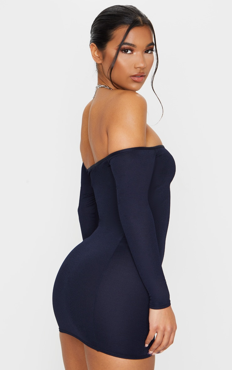 Navy Bardot Bodycon Dress 2