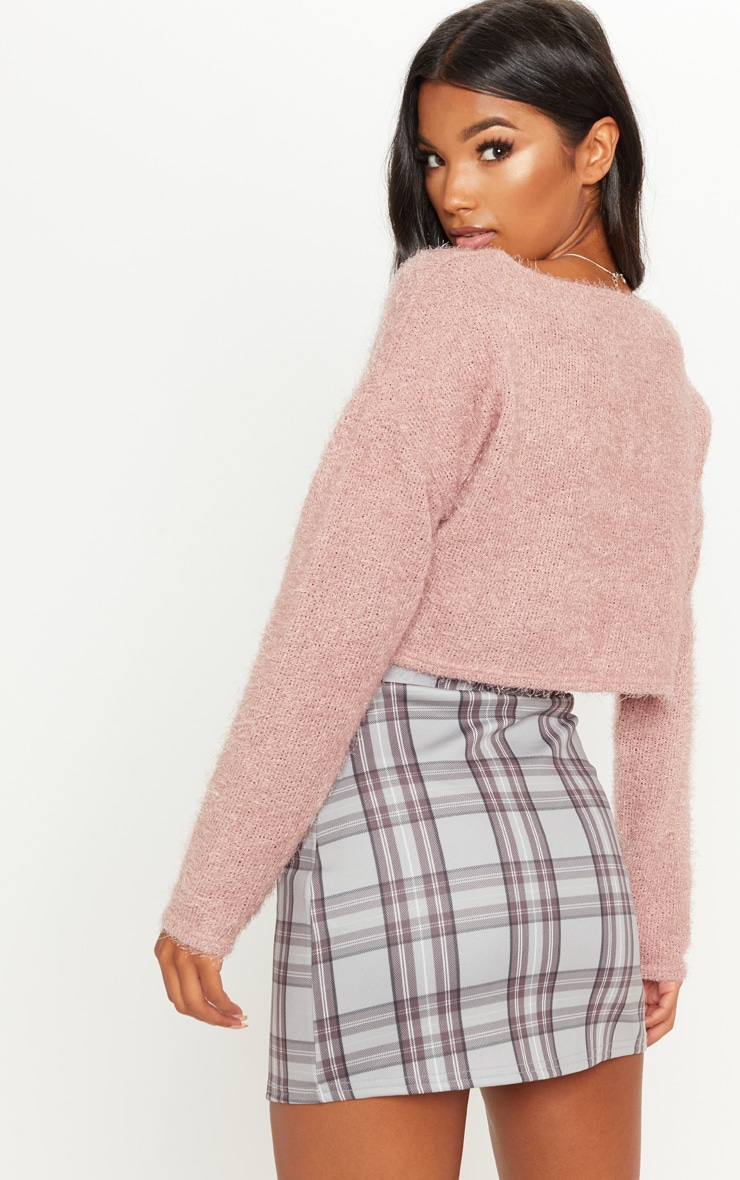 Pink Cropped Oversized Eyelash Sweater  2