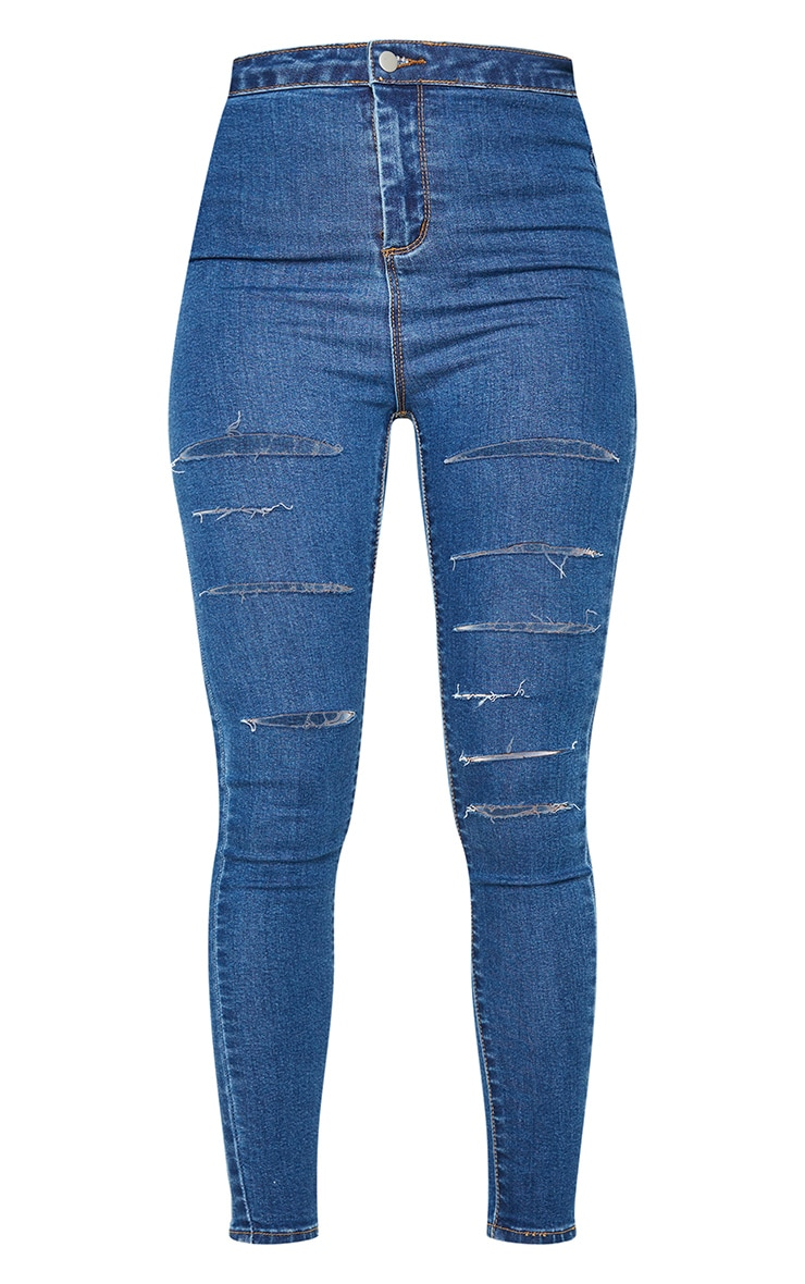 PRETTYLITTLETHING Mid Blue Wash Rip Distressed Disco Skinny Jeans 5
