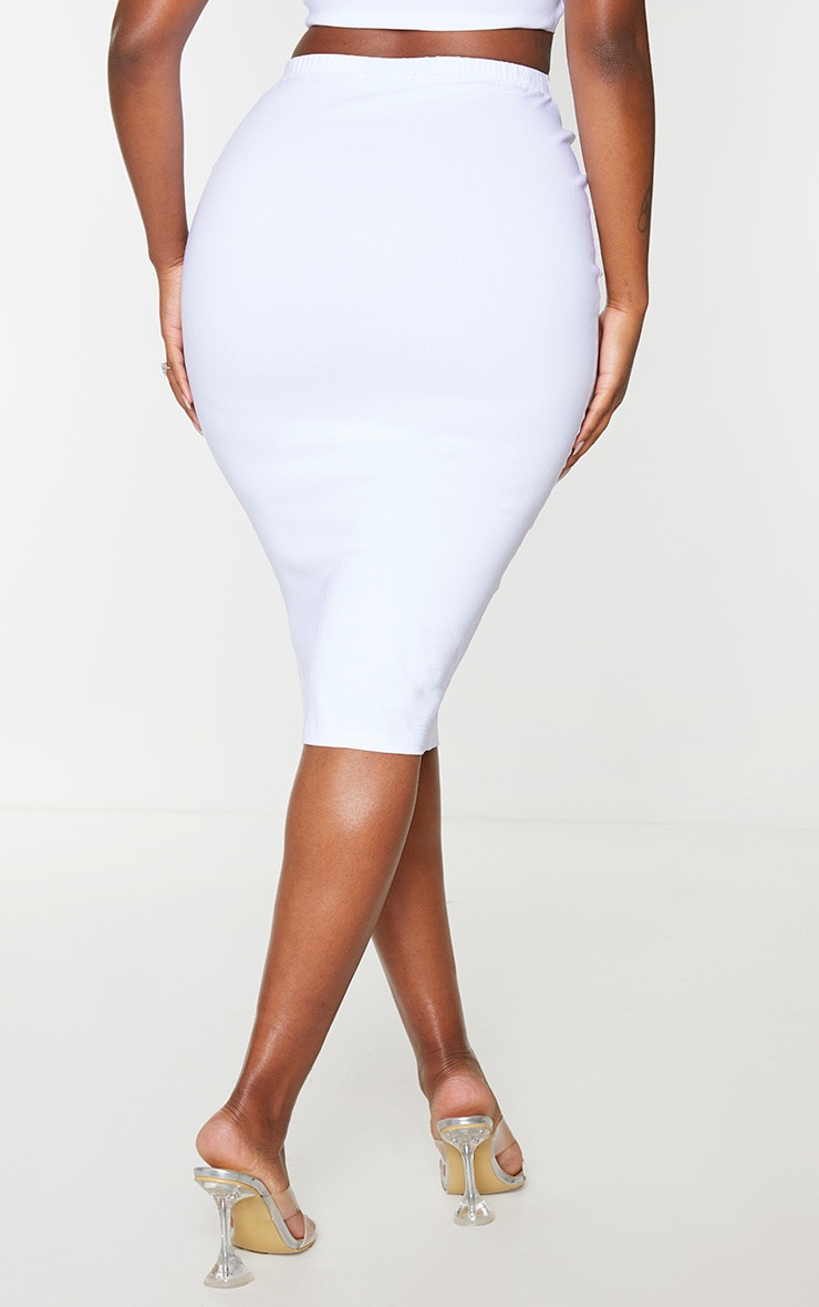 Shape Cream Stretch High Waist Midi Skirt 3