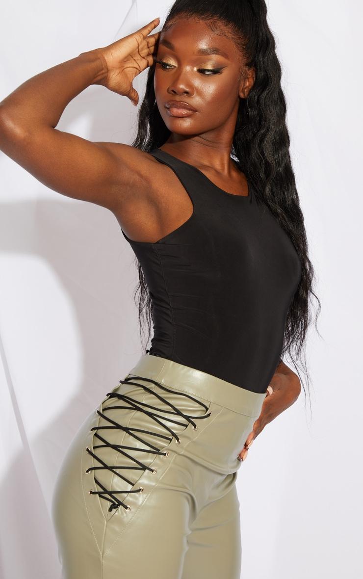 Tall Khaki PU Lace Up Side Detail Trousers 4