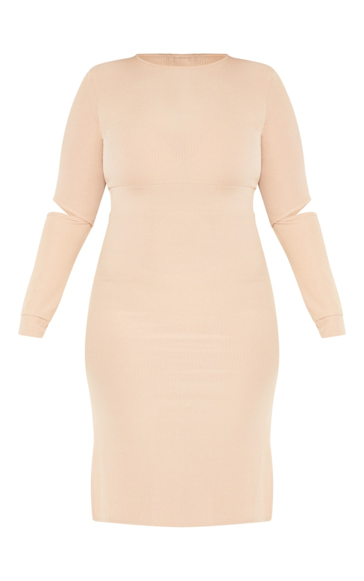 Plus Stone Ribbed Elbow Slit Midi Dress 3