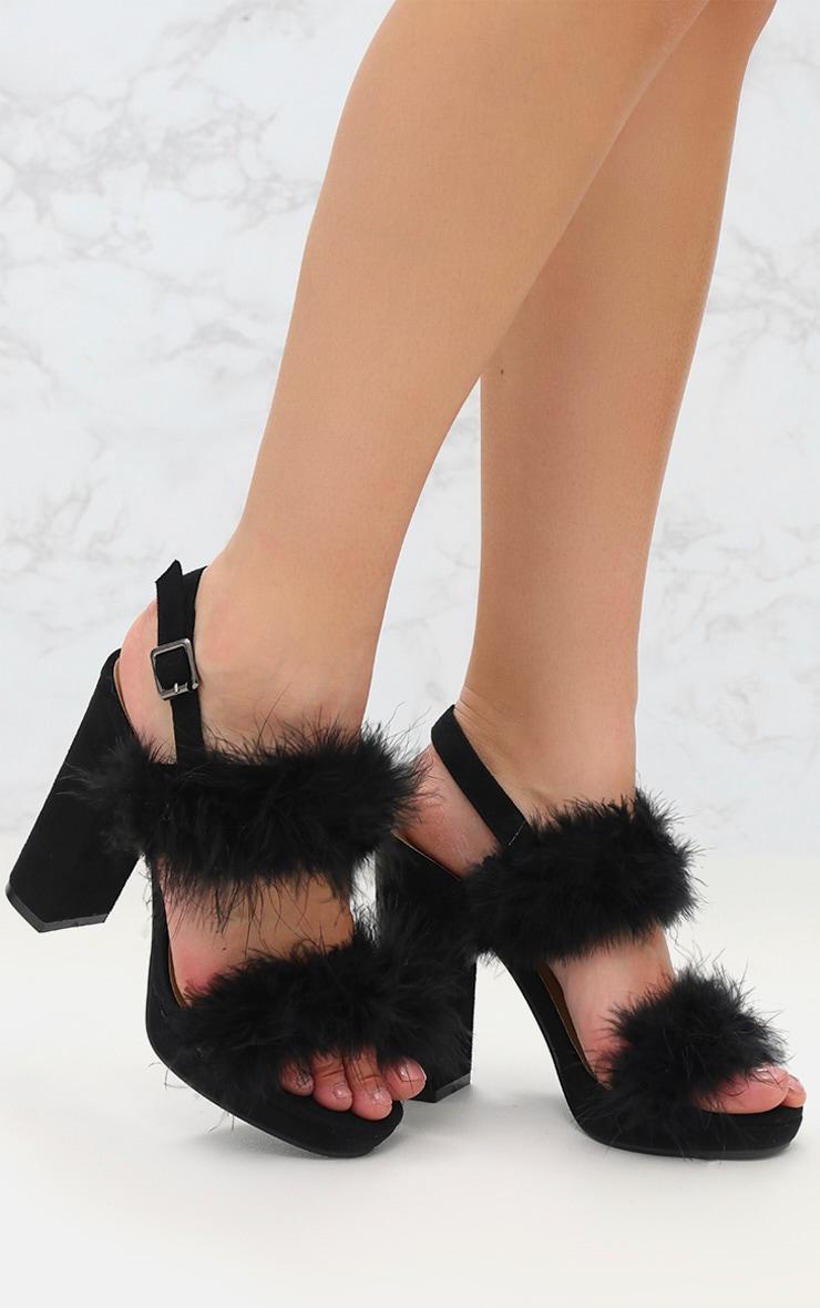 Black Twin Strap Faux Feather Platform Sandal 1