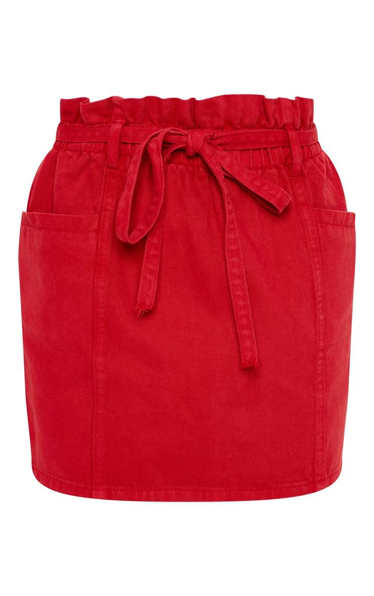 Red Paperbag Waist Denim Skirt  3
